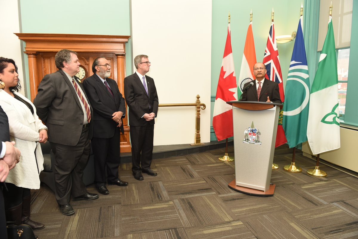 Daljit with His Worship Jim Watson, Mayor of Ottawa and Councillor Jean Cloutier. H.E. Vishnu Prakash, High Commissioner of India in Canada addressing the delegates for 2016 India Mission.