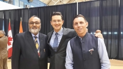 Daljit Nirman with The Honorable Pierre Polievre PC. MP. Minister of Employment and Social Development and Minister for National Capital Commission, and Patrick Brown, Leader of the Progressive Conservative Party of Ontario, during reception of The Honourable Prime Minister of India Narendra Modi in Ottawa on April 14, 2015