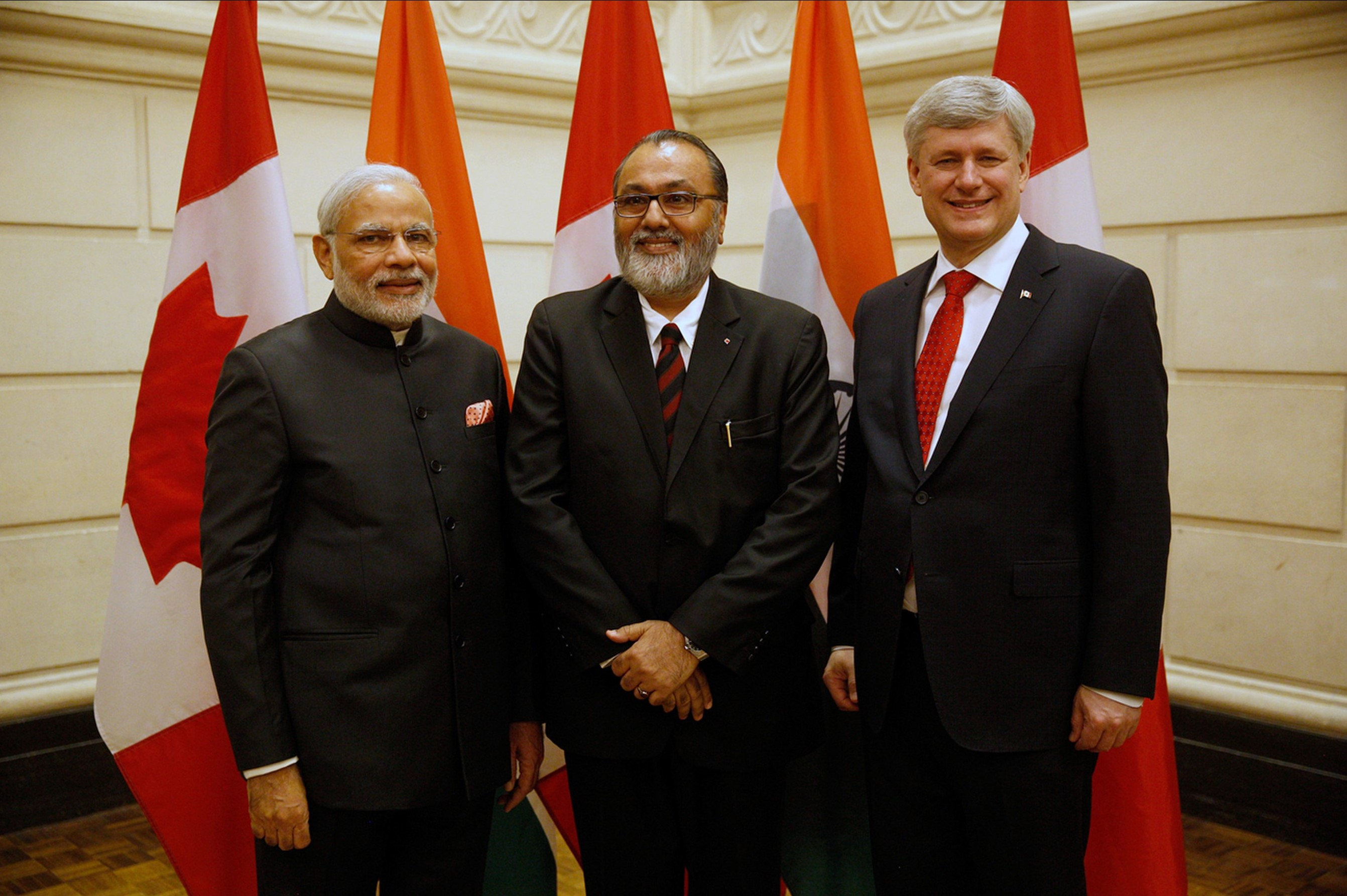 Daljit Nirman with the Prime Minister of India and Prime Minister of Canada