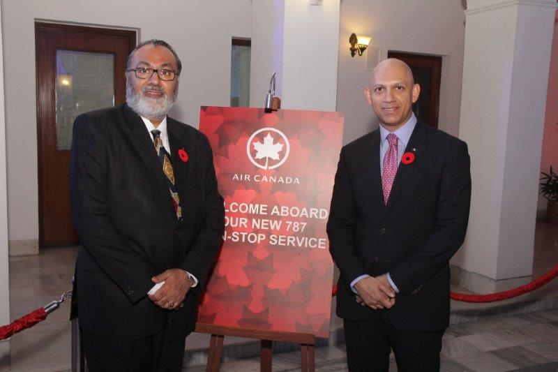 Daljit Nirman with His Excellency Nadir Patel, High Commissioner of Canada in India at Canada House during the launch of Air Canada non-stop flight between Toronto and Delhi.