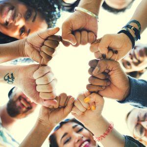 Friends Fist Together Circle Teamwork Concept